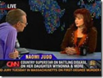 Naomi Judd talks about battling disease, her daughter Wynonna & more on Larry King LiveUSA - 28.03.06Supplied by WENN(WENN does not claim any Copyright or License in the attached material. Any downloading fees charged by WENN are for WENN's services only, and do not, nor are they intended to, convey to the user any ownership of Copyright or License in the material. By publishing this material, the user expressly agrees to indemnify and to hold WENN harmless from any claims, demands, or causes of action arising out of or connected in any way with user's publication of the material.)