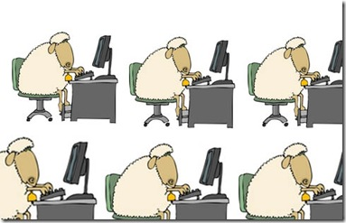 Sheep Using a Computer Clipart