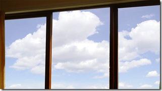 clouds through window