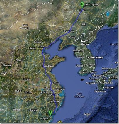 fuzhou to harbin
