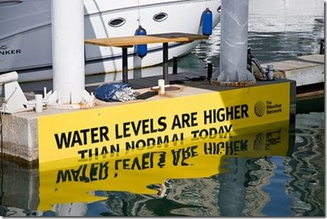water levels higher than norma;