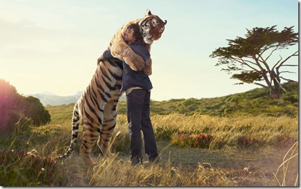man hugs tiger