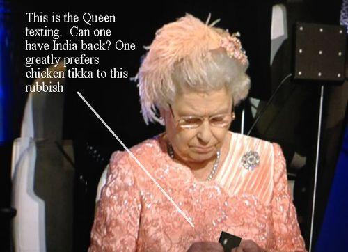 Queen sending text