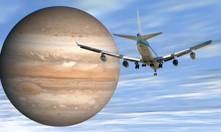 Airplane and jupiter
