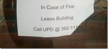 in case of fire leave building