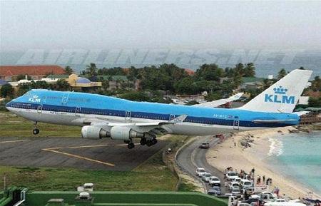 Plane near beach