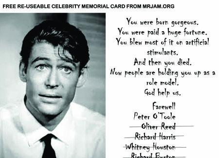 CELEBRITY MEMORIAL CARD