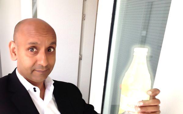 Nury with radioactive bottle