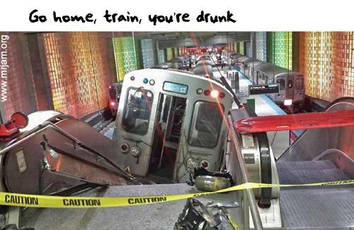 Train on escalator